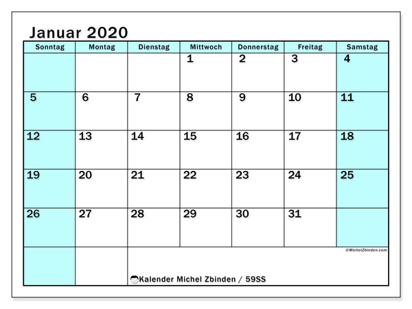 Kalender Januar 2020, 59SS. Kalender für den Monat zum kostenlosen ausdrucken.