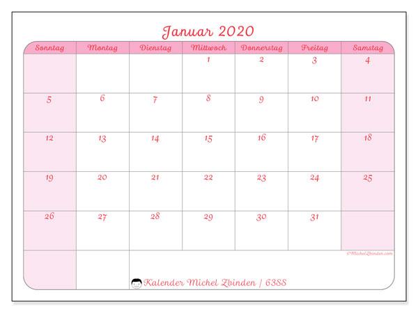 Kalender Januar 2020, 63SS. Monatskalender zum kostenlosen ausdrucken.
