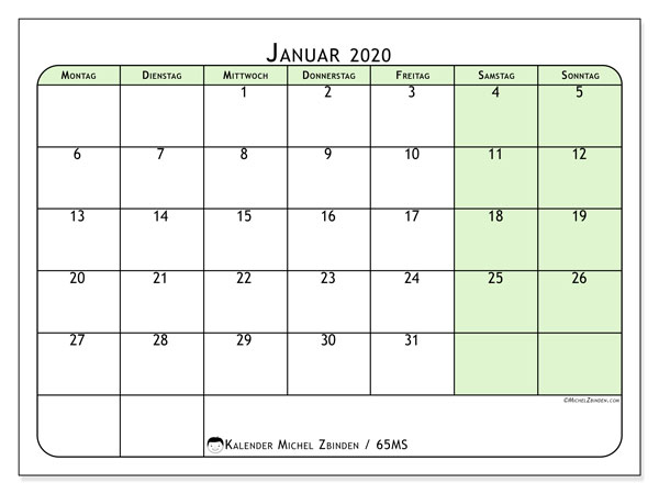 Kalender Januar 2020, 65MS. Planer zum kostenlosen ausdrucken.
