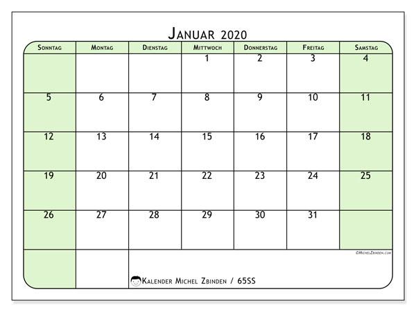 Kalender Januar 2020, 65SS. Kostenloser Zeitplan zum ausdrucken.