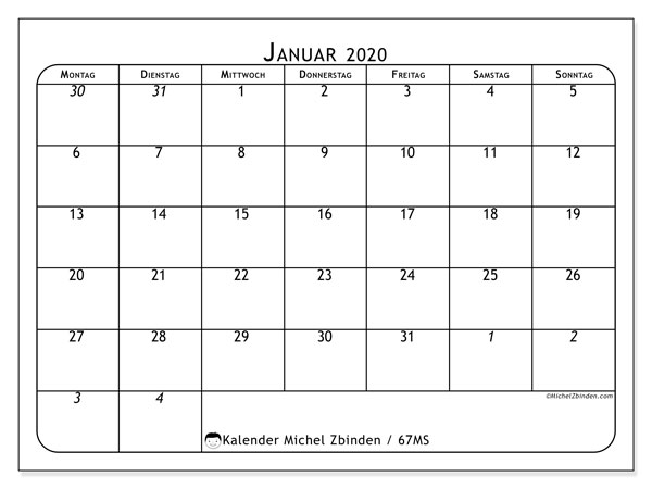 Kalender Januar 2020, 67MS. Zeitplan zum kostenlosen ausdrucken.