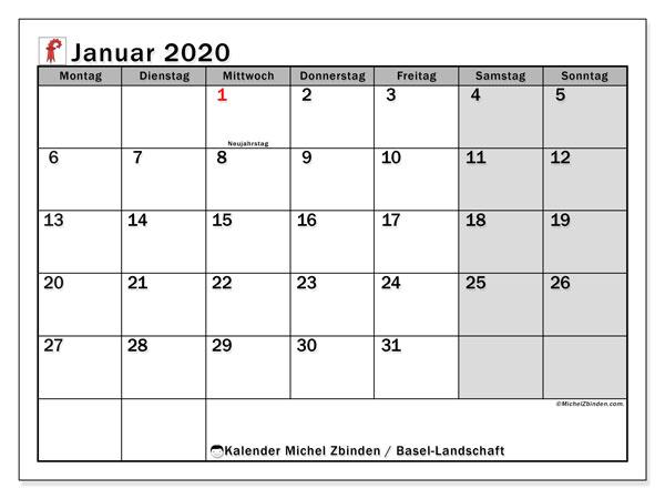 Kalender Januar 2020, mit den Feiertagen des Kantons Basel Landschaft. Kalender Feiertage frei zum ausdrucken.