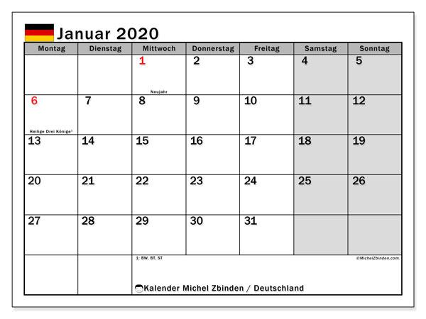 Kalender Januar 2020, mit den Feiertagen Deutschlands. Kalender mit Feiertagen zum kostenlosen ausdrucken.