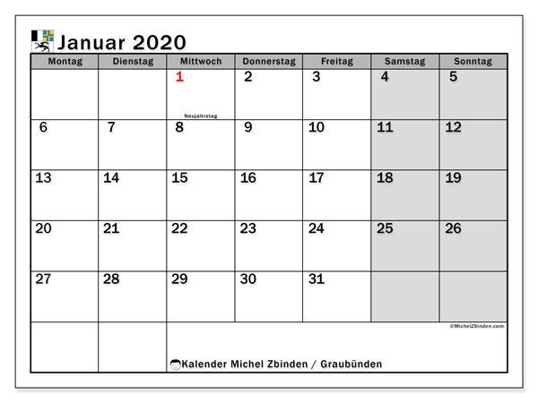 Kalender Januar 2020, mit den Feiertagen des Kantons Graubünden. Kalender mit Feiertagen zum kostenlosen ausdrucken.
