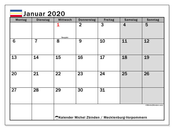 Kalender Januar 2020, mit den Feiertagen in Mecklenburg-Vorpommern. Kalender mit Feiertagen zum kostenlosen ausdrucken.