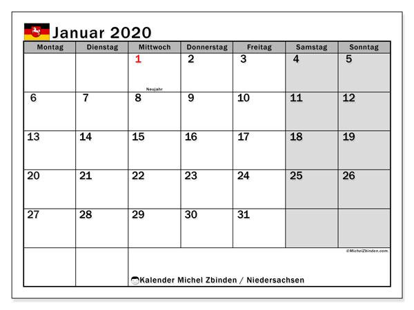 Kalender Januar 2020, mit den Feiertagen in Niedersachsen. Kalender mit Feiertagen zum kostenlosen ausdrucken.