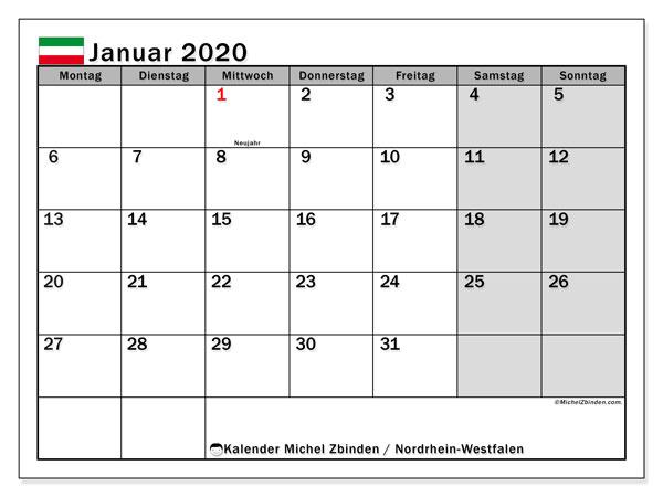 Kalender Januar 2020, mit den Feiertagen in Nordrhein-Westfalen. Kalender Feiertage frei zum ausdrucken.