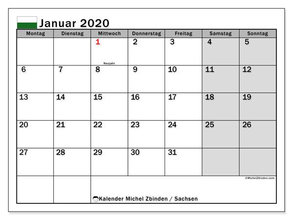 Kalender Januar 2020, mit den Feiertagen in Sachsen. Kalender Feiertage frei zum ausdrucken.