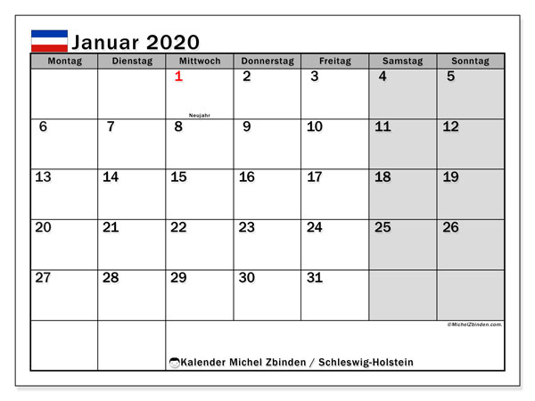 Kalender Januar 2020, mit den Feiertagen in Schleswig-Holstein. Kalender mit Feiertagen zum kostenlosen ausdrucken.