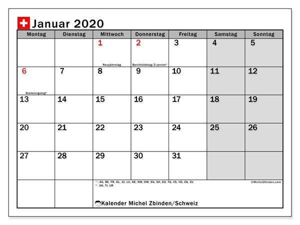Kalender Januar 2020, mit den Feiertagen der  Schweiz. Kalender Feiertage frei zum ausdrucken.
