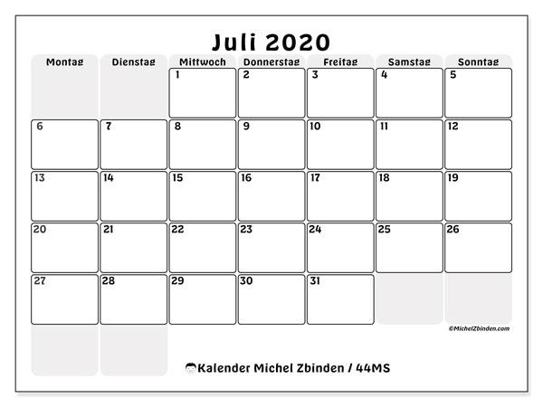 Kalender Juli 2020, 44MS. Monatlicher Zeitplan zum kostenlosen ausdrucken.
