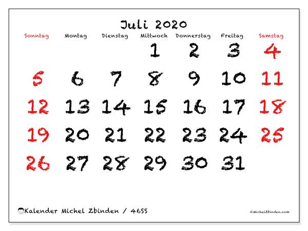 Kalender Juli 2020, 46SS. Monatlicher Kalender zum kostenlosen ausdrucken.