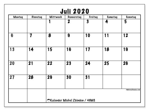 Kalender Juli 2020, 48MS. Monatlicher Kalender zum kostenlosen ausdrucken.