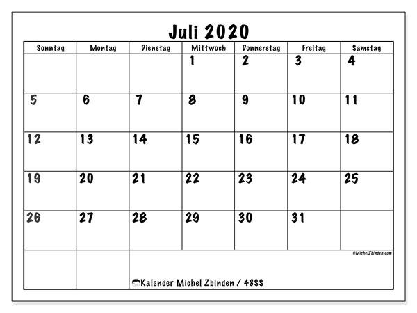 Kalender Juli 2020, 48SS. Zeitplan zum kostenlosen ausdrucken.