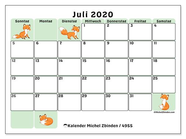 Kalender Juli 2020, 49SS. Monatskalender zum kostenlosen ausdrucken.