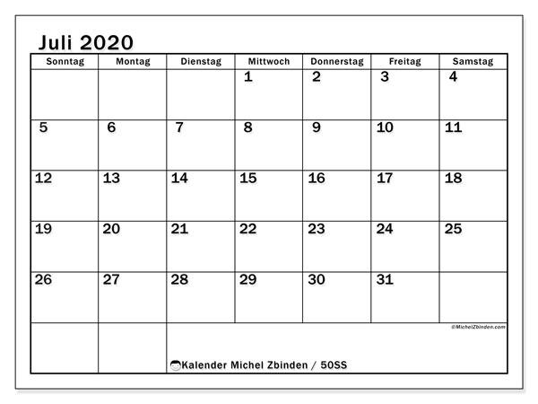 Kalender Juli 2020, 50SS. Monatlicher Kalender zum kostenlosen ausdrucken.
