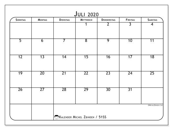 Kalender Juli 2020, 51SS. Kalender für den Monat zum kostenlosen ausdrucken.