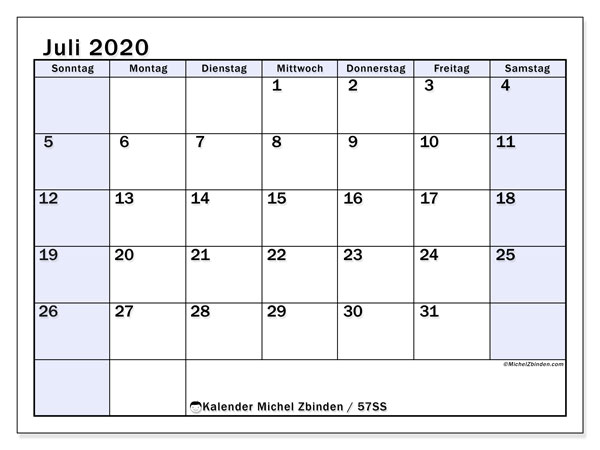 Kalender Juli 2020, 57SS. Planer zum kostenlosen ausdrucken.