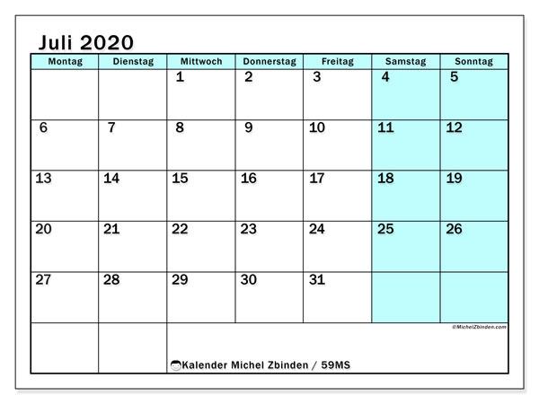 Kalender Juli 2020, 59MS. Kostenloser Kalender zum ausdrucken.