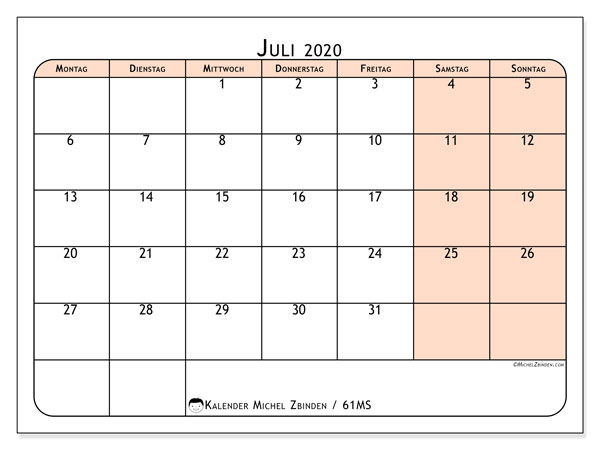 Kalender Juli 2020, 61MS. Monatlicher Kalender zum kostenlosen ausdrucken.