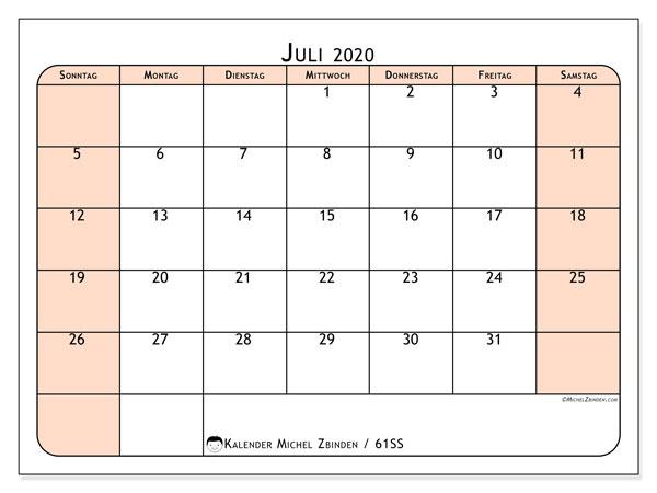 Kalender Juli 2020, 61SS. Kostenloser Zeitplan zum ausdrucken.