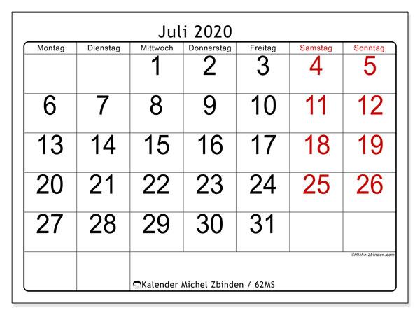 Kalender Juli 2020, 62MS. Kostenlos ausdruckbare Zeitplan.
