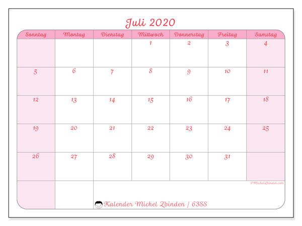 Kalender Juli 2020, 63SS. Kostenloser Kalender zum ausdrucken.