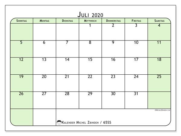 Kalender Juli 2020, 65SS. Kostenloser Zeitplan zum ausdrucken.