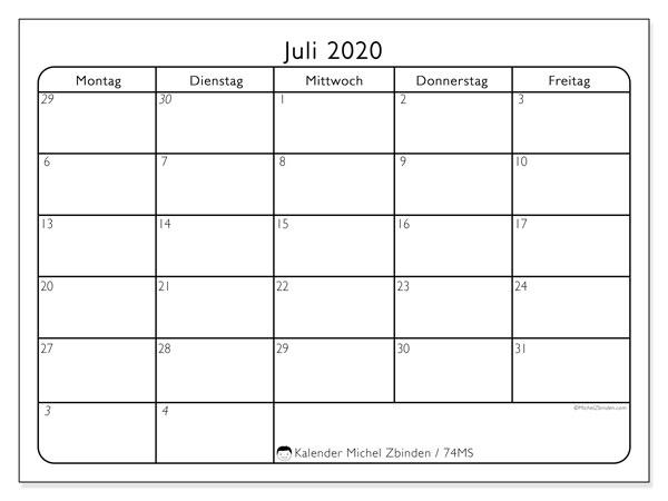 Kalender Juli 2020, 74MS. Monatlicher Kalender zum kostenlosen ausdrucken.