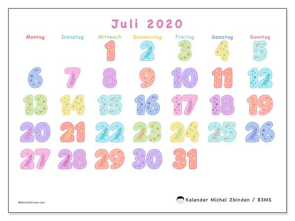 Kalender Juli 2020, 83MS. Kostenlos ausdruckbare Zeitplan.