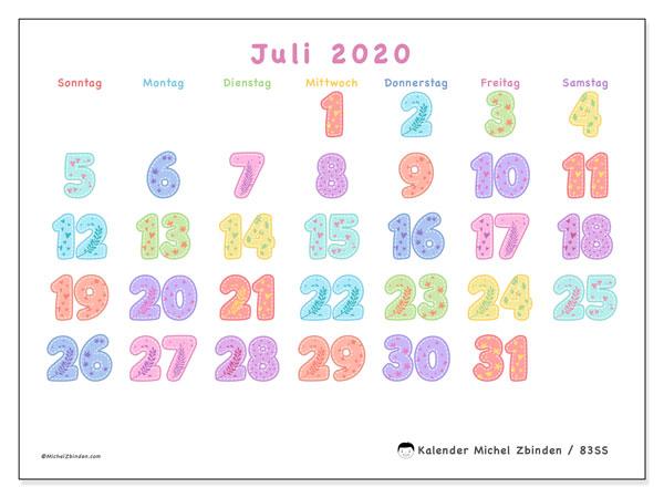 Kalender Juli 2020, 83SS. Kalender für den Monat zum kostenlosen ausdrucken.