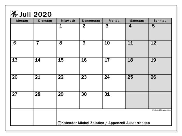 Kalender Juli 2020, mit den Feiertagen des Kantons Appenzell Ausserrhoden. Kalender Feiertage frei zum ausdrucken.