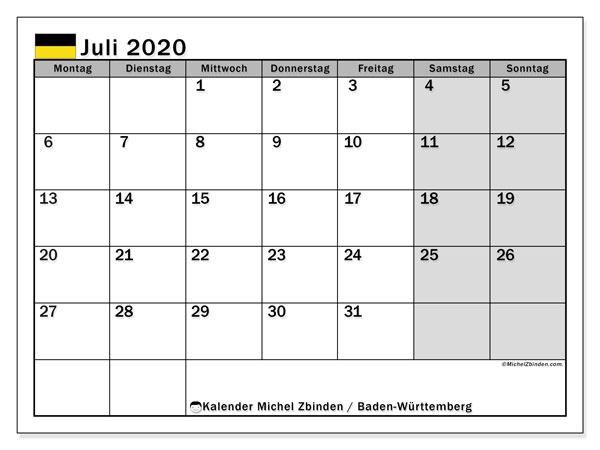 Kalender Juli 2020, mit den Feiertagen in Baden-Württemberg. Kalender Feiertage frei zum ausdrucken.