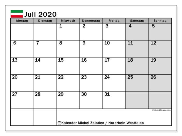 Kalender Juli 2020, mit den Feiertagen in Nordrhein-Westfalen. Kalender Feiertage frei zum ausdrucken.