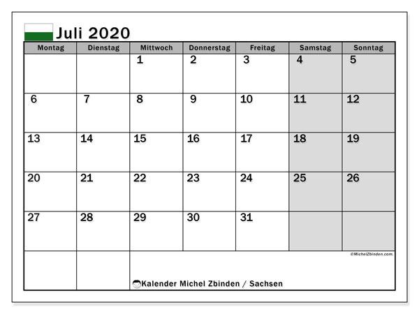 Kalender Juli 2020, mit den Feiertagen in Sachsen. Kalender mit Feiertagen zum kostenlosen ausdrucken.