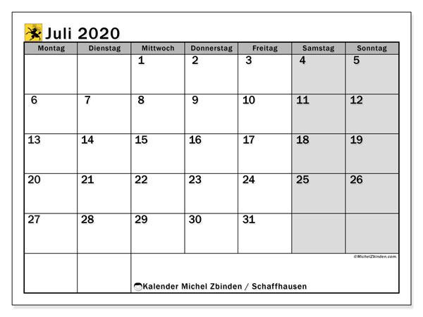 Kalender Juli 2020, mit den Feiertagen des Kantons Schaffhausen. Kalender mit Feiertagen zum kostenlosen ausdrucken.