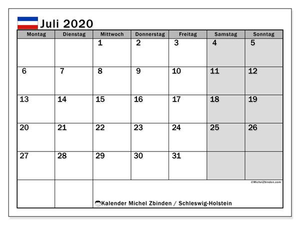 Kalender Juli 2020, mit den Feiertagen in Schleswig-Holstein. Kalender mit Feiertagen zum kostenlosen ausdrucken.