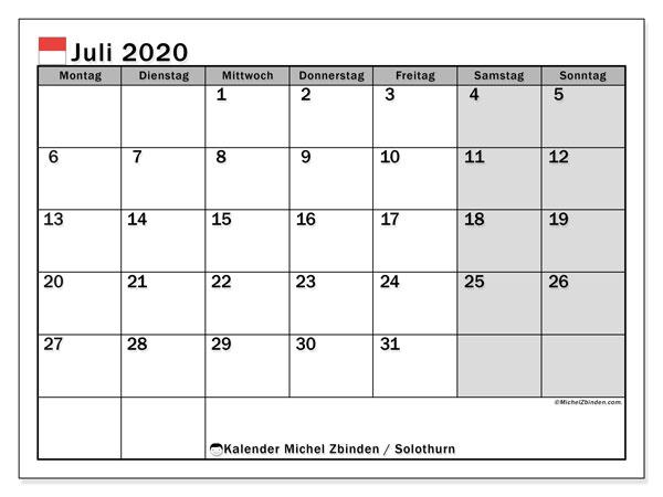 Kalender Juli 2020, mit den Feiertagen des Kantons Solothurn. Kalender mit Feiertagen zum kostenlosen ausdrucken.