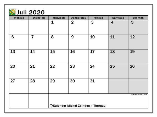 Kalender Juli 2020, mit den Feiertagen des Kantons Thurgau. Kalender mit Feiertagen zum kostenlosen ausdrucken.