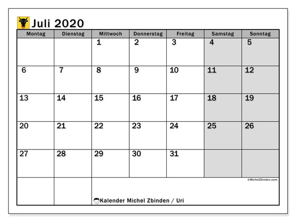 Kalender Juli 2020, mit den Feiertagen des Kantons Uri. Kalender mit Feiertagen zum kostenlosen ausdrucken.