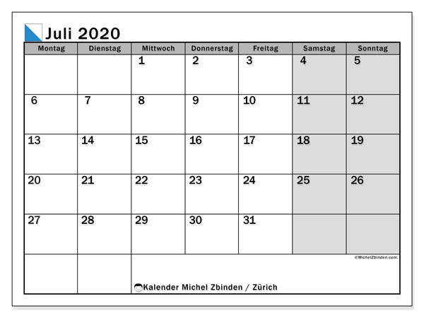 Kalender Juli 2020, mit den Feiertagen des Kantons Zürich. Kalender Feiertage frei zum ausdrucken.