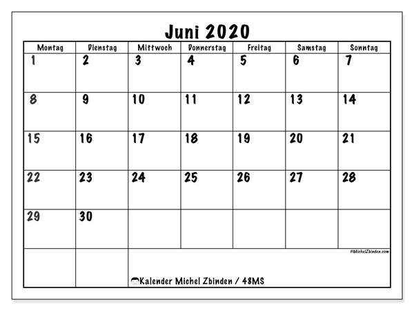 Kalender Juni 2020, 48MS. Kostenlos ausdruckbare Zeitplan.