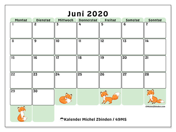 Kalender Juni 2020, 49MS. Kalender zum kostenlosen ausdrucken.