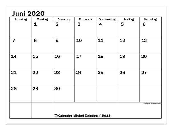 Kalender Juni 2020, 50SS. Kalender für den Monat zum kostenlosen ausdrucken.