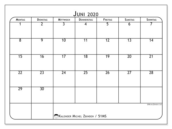 Kalender Juni 2020, 51MS. Monatskalender zum kostenlosen ausdrucken.