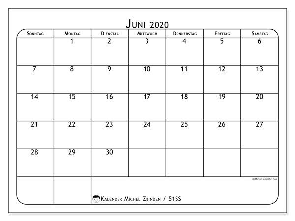 Kalender Juni 2020, 51SS. Planer zum kostenlosen ausdrucken.