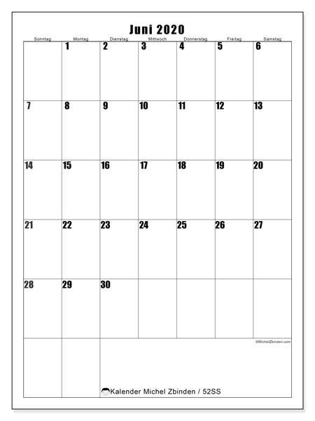 Kalender Juni 2020, 52SS. Kostenloser Zeitplan zum ausdrucken.