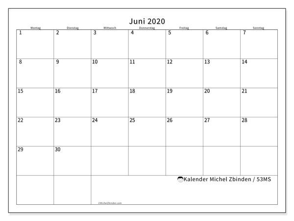 Kalender Juni 2020, 53MS. Monatlicher Zeitplan zum kostenlosen ausdrucken.