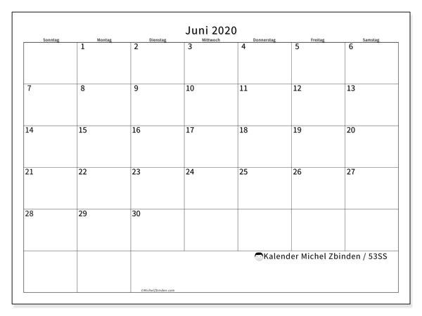 Kalender Juni 2020, 53SS. Kostenlos ausdruckbare Zeitplan.
