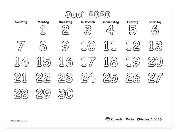Kalender Juni 2020, 56SS. Monatlicher Zeitplan zum kostenlosen ausdrucken.